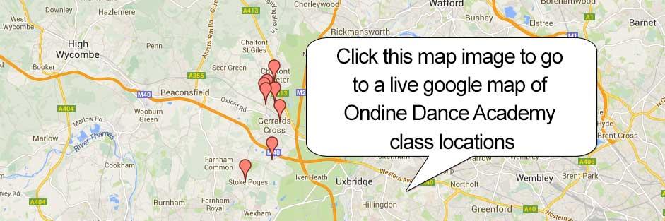 map image of ondine academy of dance bucks dance classes map